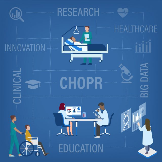 illustration depicting nurses studying, researching, and caring for patients