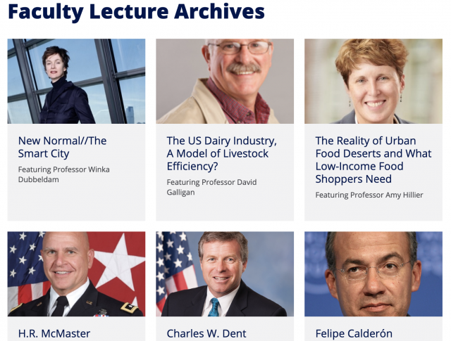 Screenshot of the Facult lecture archives featuring thumbnails of past lecturers.